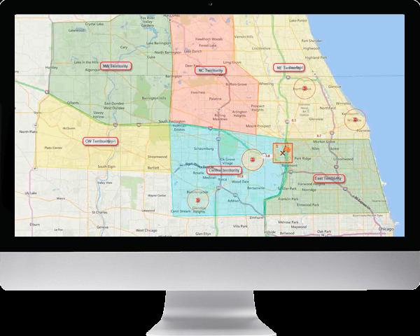 FleetTraks Route Planning by territority shown on an iMac screen