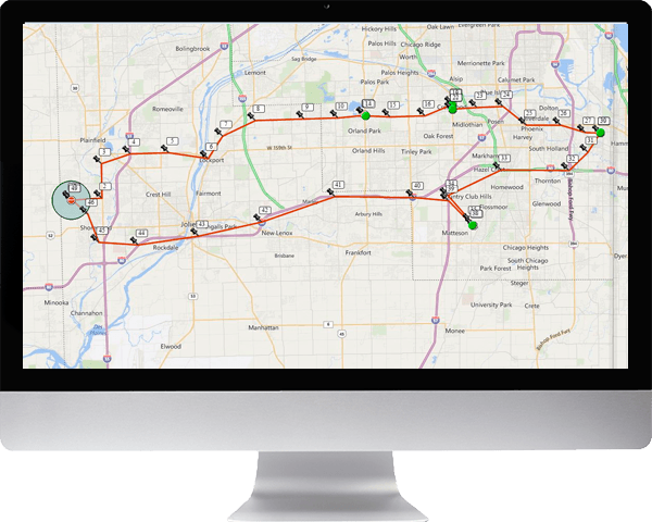 Route taken with each GPS location numbered